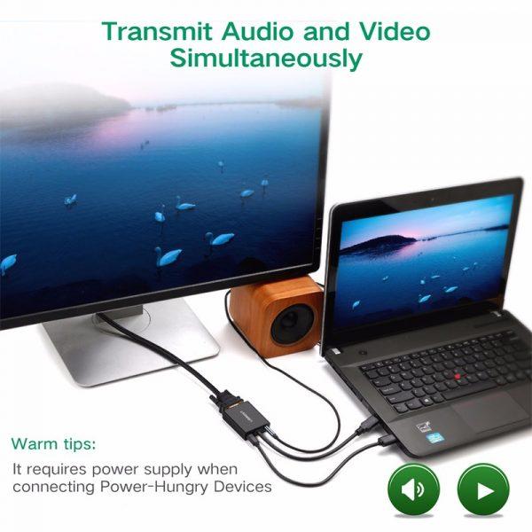Mini HDMI to VGA+3.5MM Audio+Mirco USB converter