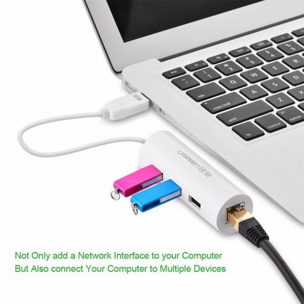 USB 2.0 10/100Mbps Ethernet + 3 ports USB 2.0 HubUSB HUB white ABS