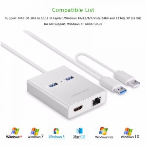 new USB 3.0 to HDMI + 2 ports USB 3.0 + Gigabit lan port Silver  80CM