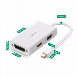 Mini DP to HDMI/ VGA/ DVI converter White/13.3CM