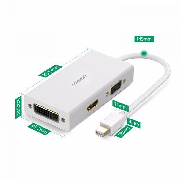 Mini DP to HDMI/ VGA/ DVI converter White/13.3CM