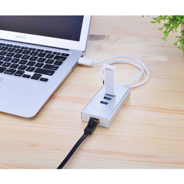 Ugreen USB3.0 to 3xusb3.0 hub+ Gigabit nic aluminum shell White