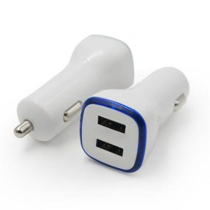 ABS Case Dual USB Car Charger 2.4A+2.4A  White