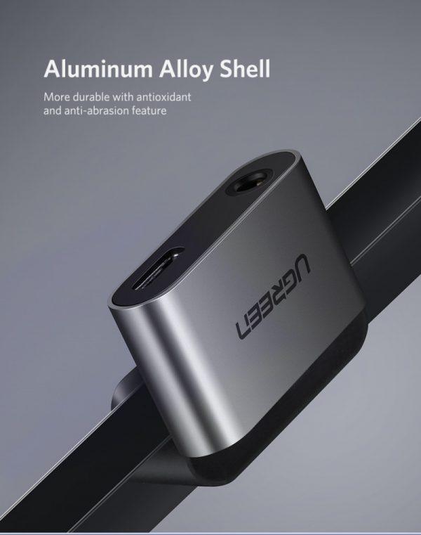 Type C to 3.5mm Audio+ Type C Female Adapter Aluminum case