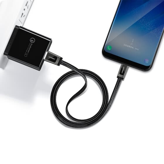 USB-C to USB A male Flat Cable with braid 1M