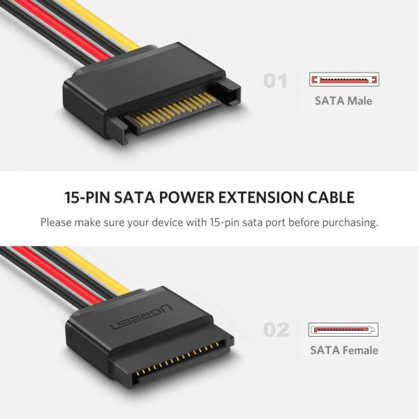 SATA 15P Male to Female Extension Cable 0.2M