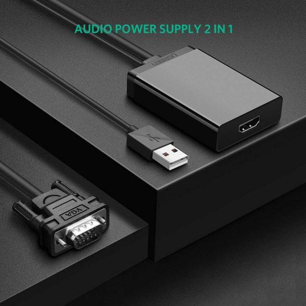 VGA+ USB audio to HDMI Converter Black