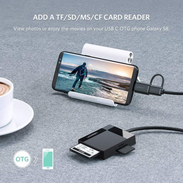 USB3.0 Multifuncation Card Reader with Type-C male Black 50CM