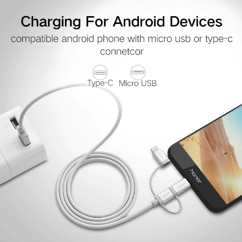 USB 2.0 to Micro USB+Lightning+Type C (3 in 1) Data Cable with Braid  Sliver 1M