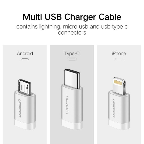 UGREEN USB 2.0 to Micro USB+Lightning+Type C (3 in 1) Data Cable with Braid Sliver 1.5M