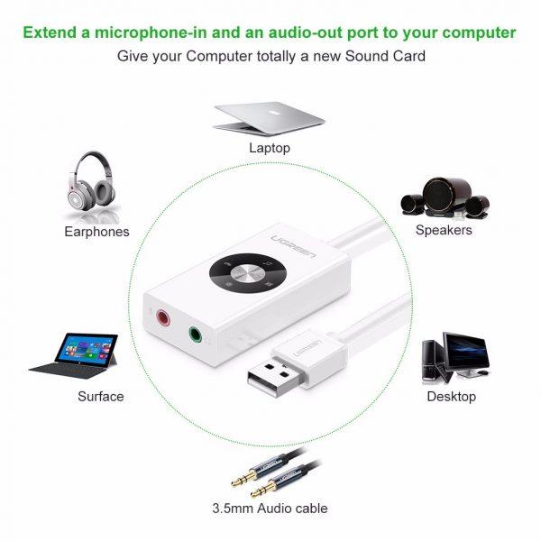 UGREEN USB 2.0 External Stereo Sound Adapter