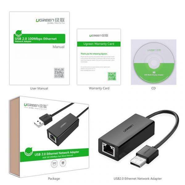 UGREEN 2.0 10/100Mbps Ethernet Adapter-10cm