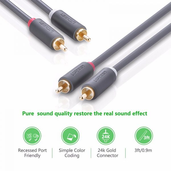 2RCA male to 2RCA male stereo audio video cable 3M