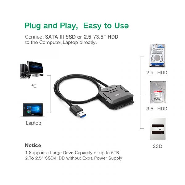 UGREEN USB 3.0 to SATA Converter cable with 12V 2A power adapter 50CM