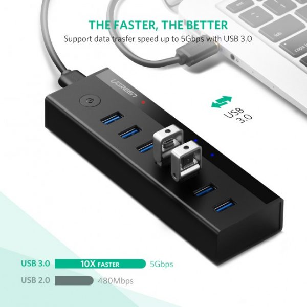 7 Port USB 3.0 HUB (5V Power Supply) CH Black