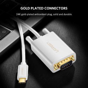 USB Type C to VGA Cable White White 1.5M