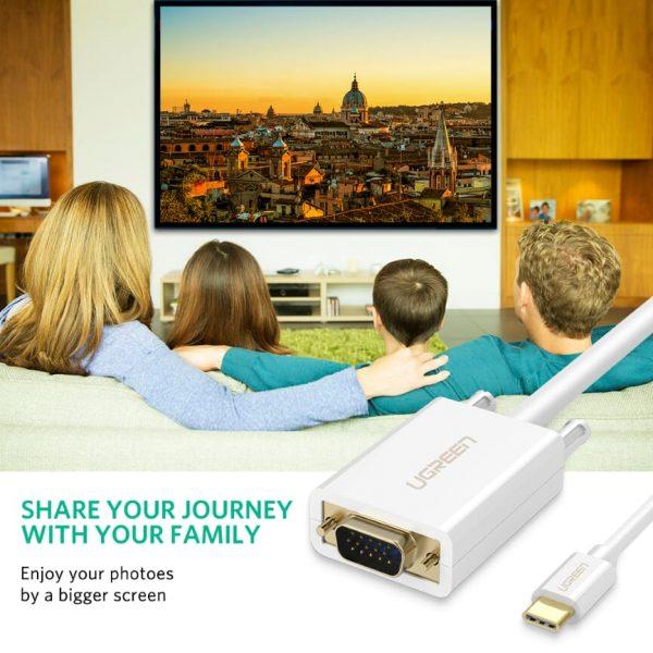 Ugreen USB Type C to VGA Cable White White 1.5M