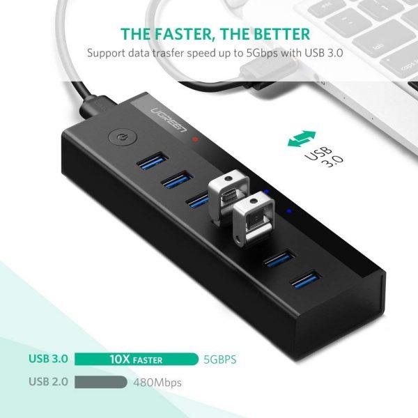 7 Port USB 3.0 HUB 5V Power Supply UK Black