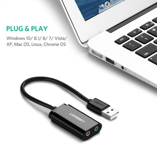 USB 2.0 External 3.5mm Sound Card Adapter Black 15CM
