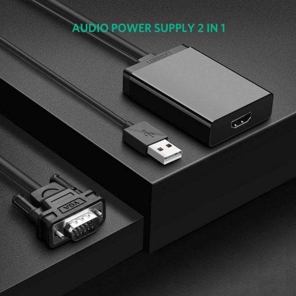 VGA  USB audio to HDMI Converter Black