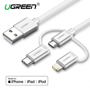 Ugreen USB 2.0 to Micro USB Lightning Type C (3 in 1) Data Cable with Braid Sliver 1M