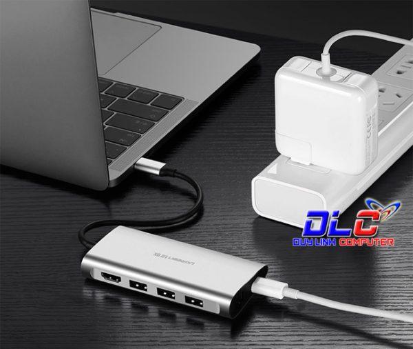 USB-C to 3*USB3.0+HDMI+RJ45+SD&TF converter sliver