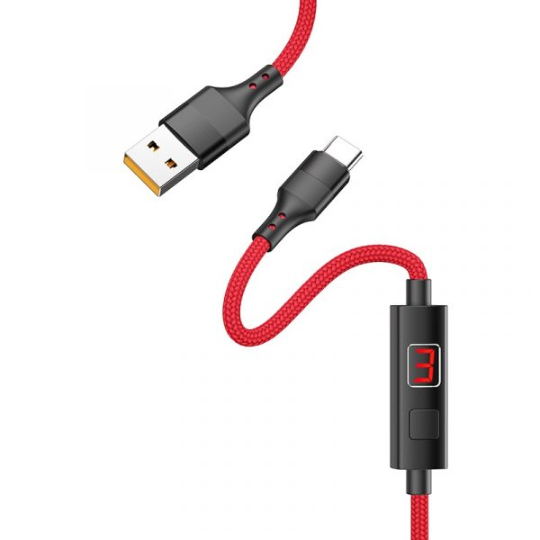 S13 Central Control Timing Charging Data Cable Type C Red