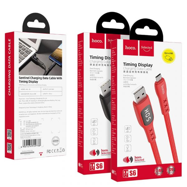 S6 Sentinel Charging Data Cable Time Display Micro Red