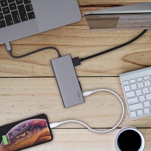 Belkin USB-C MULTIMEDIA HUB+ POWER,SPACE GRAY