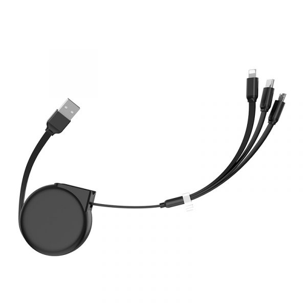 U50 3in 1 Retractable Charging Data Cable Black